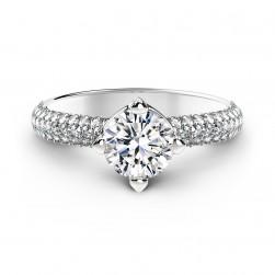 Forevermark Setting™ Solitaire Pavé Ring